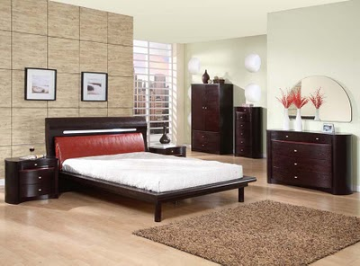 Contemporary-luxury-bedroom-with-dark-red-wood-bed-set-with-chest-cabinets-and-dresser